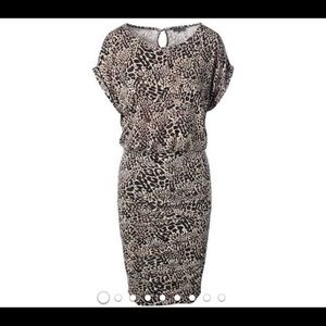 Vince Camuto leopard dress fitted ruched Sz large